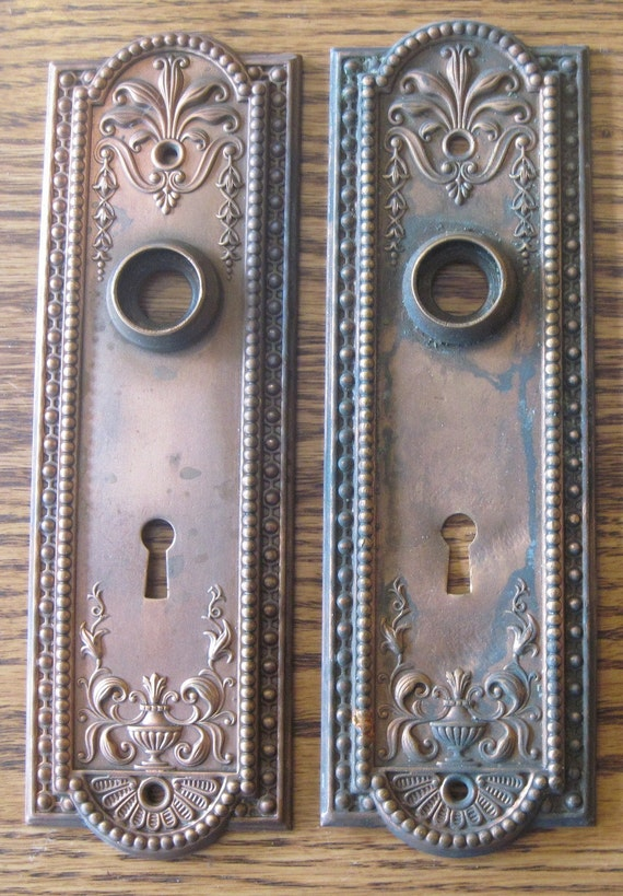 Pair 2 Solid Brass Antique Vintage Door Knob By Bandcemporium