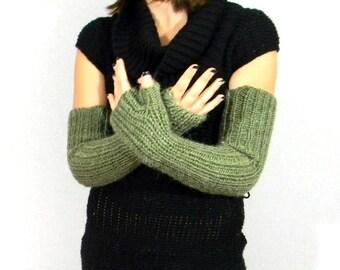 Knit hand warmers Womens arm warmers Long mittens Alpaca blend Moss green. Fingerless gloves. Winter fashion. Christmas gift  Elbow length