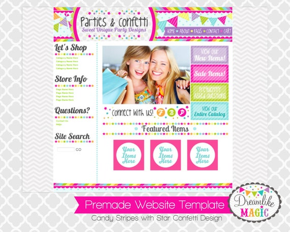 Premade Website Template: Candy Stripes with Star Confetti Design