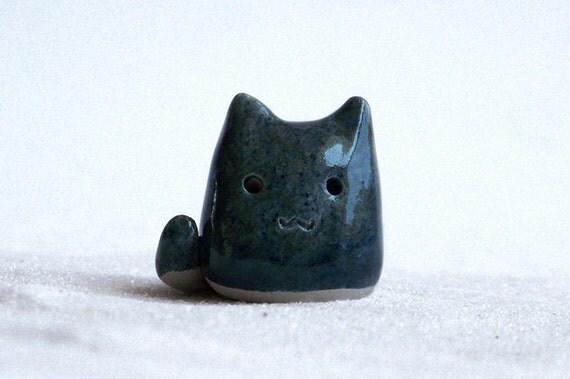 Grey ceramic cat - ooak tiny cute ceramic kitty sculpture with gray glaze