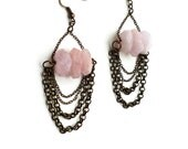 Sale 50% off Pink Natural Rose Quartz Gemstone Jewelry - Rustic Brass Chain Earrings