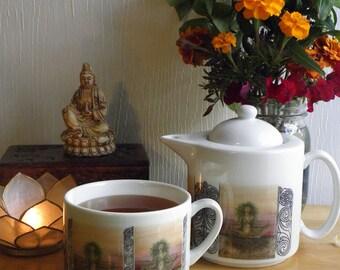 Café Style Porcelain Tea for One Set, Dryad Spirit Fantasy Art