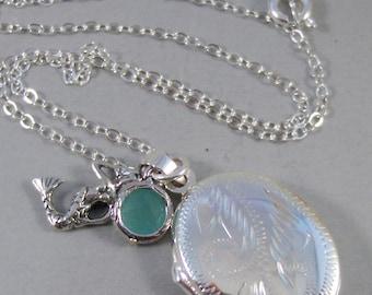 Mergirl,Locket,Silver Locket,Mermaid,Aquamarine,Brithstone,Blue,Sterling Silver,Wedding Jewelry. Handmade jewelry by valleygirldesigns.