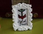 Framed Tattoo Hold Fast Anchor Cross Stitch