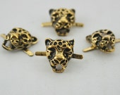 4 pcs.Zinc Gold Tiger Head Leopard Studs Leather Craft  Decorations Findings. DHS1316