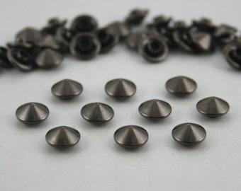 100 pcs Gunmetal Cone Rapid Rivets Studs Decorations Findings 8 mm. KRCGun8