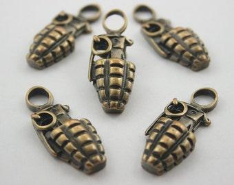 10 pcs Zinc Brush Brass Grenade Charms Pendants Decorations Findings 14x36 mm. BM 1436 504