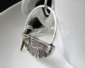 Silver Padlock Necklace, Padlock Pendant, Swing Basket Pendant