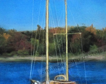 "sailboat original pastel painting framed 14"" x 18"""