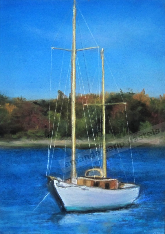 Sailboat Original Pastel Painting Framed 14 X 18