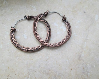 copper braided hoop earrings