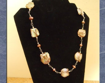 Pearl Necklace Earring Set Sterling Silver Baroque Coin Pearls Strand Statement Wire Wrapped  (M-138)