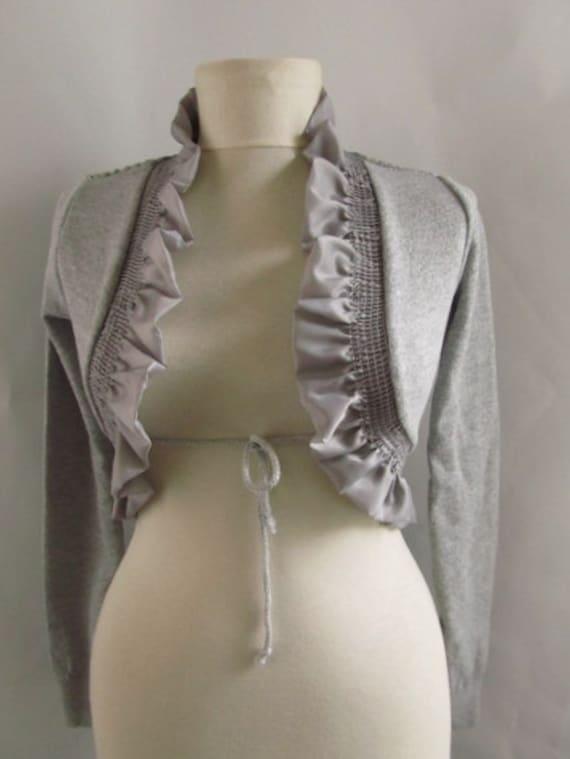 Grey-Gray Crochet  Shrug - Soft Elegant,  Bridal Shrug Bolero
