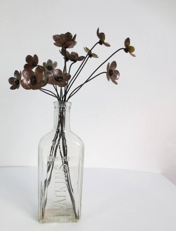 Rustic Bouquet of Rusty Metal Flowers Bloom Forever For your Wedding