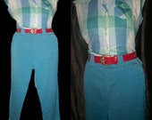 1950s Western cowgirl Turquoise blue suit side zip pants top button plaid shirt set Small Medium