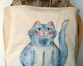 Cat Lovers Tote. Cat and Mouse Hand Painted Quilted Handbag
