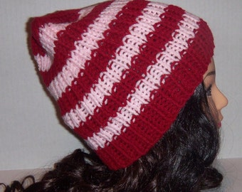 Pink and Burgundy Striped Beanie, Slouchy Hat, MADE TO ORDER