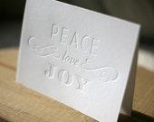 Letterpress Christmas Cards - Peace Love Joy holiday cards
