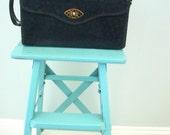Vintage  Purse Handbag Black Leather With Gold Accent