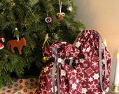 Reusable Fabric Holiday Gift Bag with Ribbon Tie - Maroon Snowflake Pattern