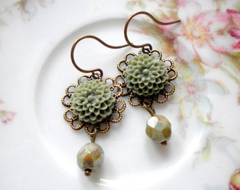 Olive Green Earrings Flower Earrings Khaki Earrings Olive Green Jewelry Flower Dangle Earrings Khaki Jewelry Dangle Glass Earrings