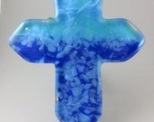 crucifix simple modern Cross cast fused glass blue cobalt
