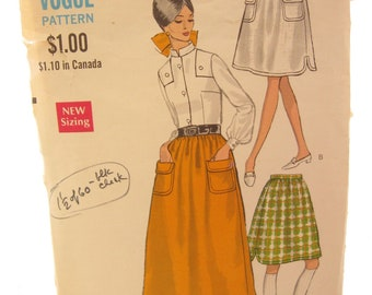 Vogue 7355 Retro Full Dirndl Vintage Skirt Sewing Pattern