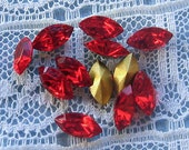8x4 mm Swarovski, Light Siam Red, Navette, Vintage Glass Rhinestone Qty 12