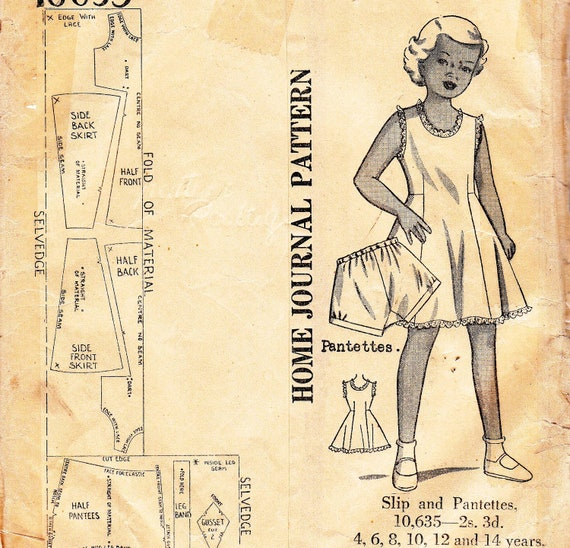 RARE 1940s Antique Sewing Pattern Girls' Slip and Panties Breast 24 Inches UNUSED FF