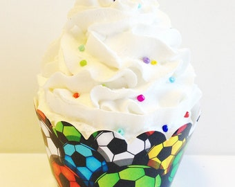 Colorful Soccer Balls Cupcake Wrappers - 24ct