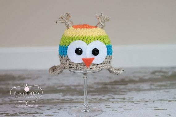 Rainbow Owl Hat - Ear Flap Beanie Hat - Animal Hat - Orange, Yellow, Green, Blue -  Photo Prop - Made to Order