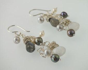 Moonstone Earrings, June Birthstone, June Birthday, Moonstone Jewelry, Labradorite Earrings, Dangle Earrings, Rainbow Moonstone, Eco Fashion