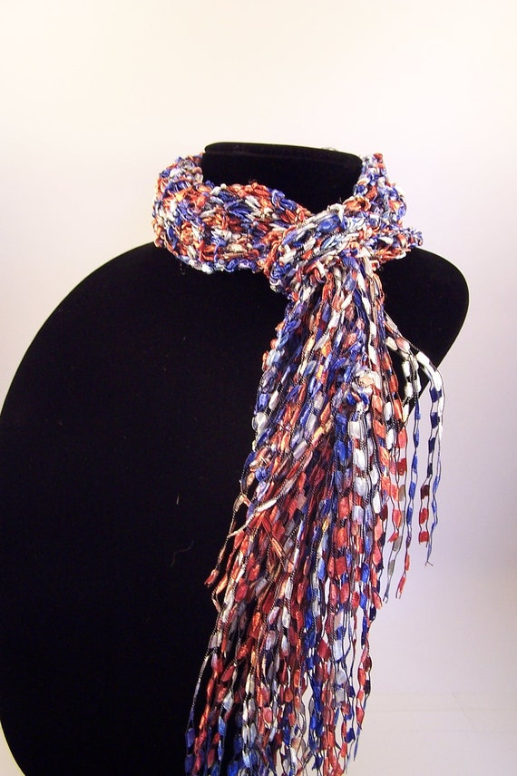 Knitting Pattern Ribbon Yarn Scarf : SALE Show some Spirit with this Red White and by WeeCatCreations