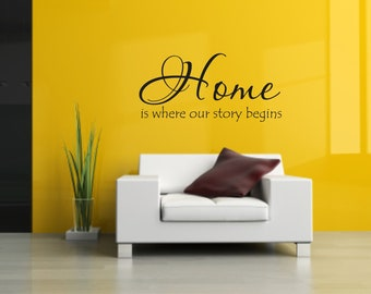 Vinyl Wall Decal Home is where our story begins - Home Vinyl Wall Decal Quote
