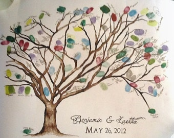 """x-Large (Benjamin and Laetitia) Cherry Blossom  Gallery Wrap Canvas  Thumbprint Guestbook for over  225 guests 36""""x24"""""""