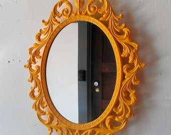 Fairy Princess Mirror - Ornate Vintage Frame in Marigold Yellow - 13 by 10 inches