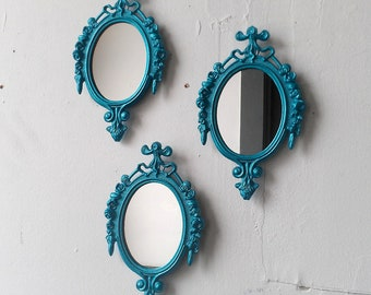 Framed Wall Mirror Set of Three in Small Ornate Vintage Frames - Shimmering Aqua