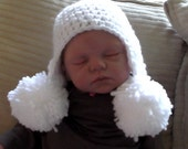 Baby Double Pom  Earflap Hat..5 Color Choices..3 to 6 Month...Boy or Girl..Fall and Winter Hat...PHOTOGRAPHERS Prop...Ready to Ship