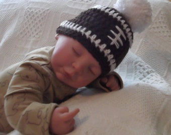 FOOTBALL Beanie for 0 up to 3 month size Baby...Fall Photos....White Pom Topper...Adorable on Baby Boy or Girl...Ready to Ship