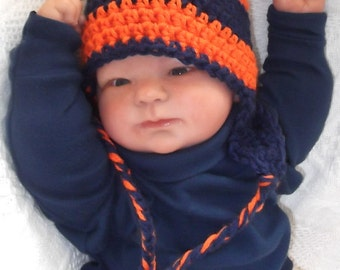 Orange and Navy Hat....Denver Broncos.....Earflaps & Braids...Bears.....Newborn up to 12  month Babies...Chicago Bears...NFL..READY To SHIP