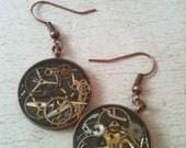 Antiqued Copper Clockwork Clutter Earrings