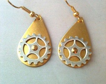 Brass and Silver Teardrop Gear Earrings