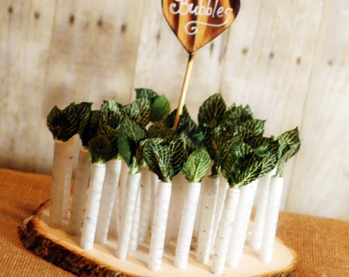150 White Birch Twig Style Wedding Bubble favors with base and heart sign White Birch