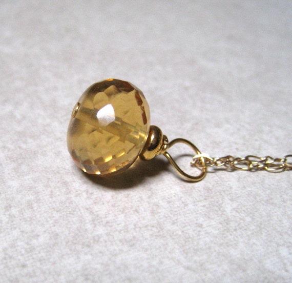 Citrine Necklace,  Yellow Gemstone Pendant,  November Birthstone Jewelry,  14K Gold Filled,  Citrine Jewelry