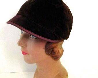 Vintage hat 20s 30s Brown Velvet Unique Deco Cap  - on sale