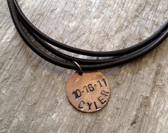 Mens Leather Necklace- Multi Strand Necklace- Personalized Necklace- Valentine Gifts for Men