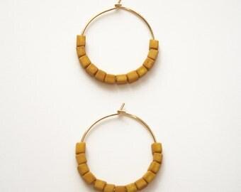 Yellow Earrings, Hoop Earrings, Vintage Beads, Beaded Hoop Earrings