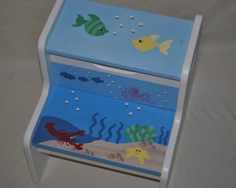 Kids Personalized  2 Step Stool - Sea Creatures