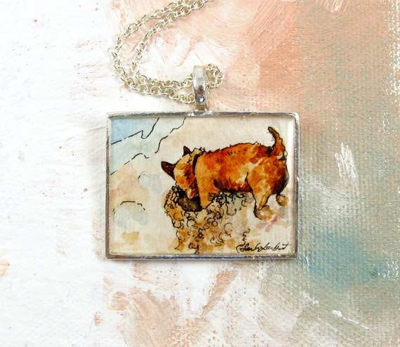 Cairn Terrier Digging For Crabs -- Puppy Dog Hand Painted Necklace, Large Rectangle, Watercolor Painting Jewelry -- 30% Off