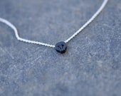 Tiny BLACK Skull charm necklace on dainty silver necklace, minimalist necklace, everyday necklace